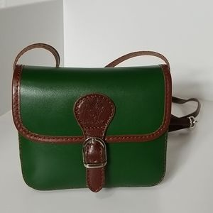 New Green Buckle Accent Leather Crossbody Bag